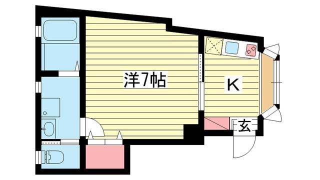 物件番号: 1025837965 楠町ツルマンション  神戸市中央区楠町1丁目 1K マンション 間取り図