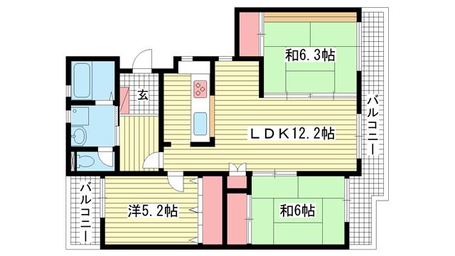 物件番号: 1025838023 ワコーレ赤坂山手  神戸市灘区赤坂通8丁目 3LDK マンション 間取り図