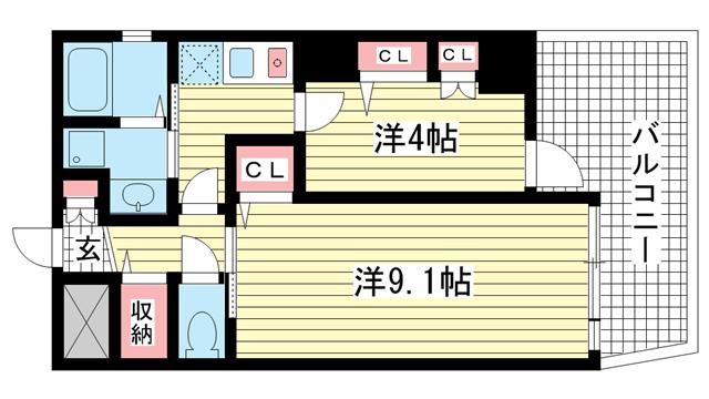 物件番号: 1025838069 アロハ三宮  神戸市中央区旭通3丁目 2K マンション 間取り図