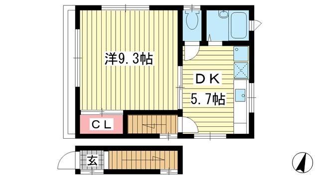 物件番号: 1025838072 下山手通4丁目貸家  神戸市中央区下山手通4丁目 1DK 貸家 間取り図