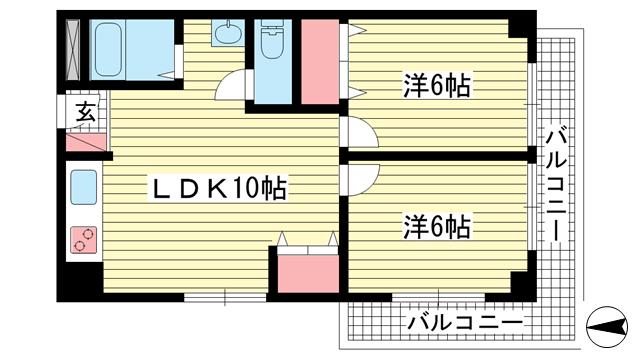 物件番号: 1025838198 ハッピーコート魚崎  神戸市東灘区魚崎中町1丁目 2DK マンション 間取り図
