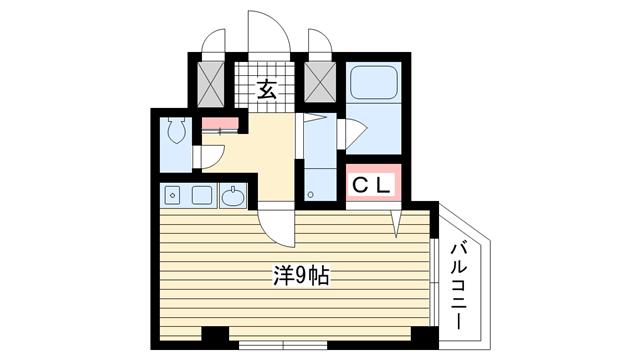 物件番号: 1025838259 エトワール山手KOYAMA  神戸市中央区加納町3丁目 1R マンション 間取り図