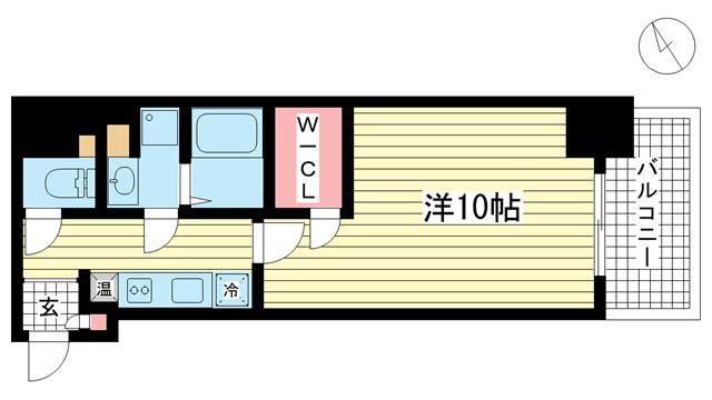 物件番号: 1025838320 アスヴェル神戸元町Ⅱ  神戸市中央区元町通5丁目 1K マンション 間取り図