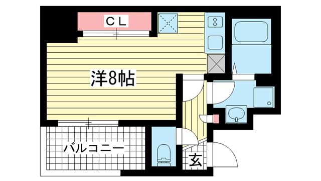 物件番号: 1025838321 アスヴェル神戸元町Ⅱ  神戸市中央区元町通5丁目 1R マンション 間取り図