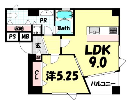 物件番号: 1025838633 POCO A POCO 三宮ハイタワー  神戸市中央区雲井通4丁目 1LDK マンション 間取り図