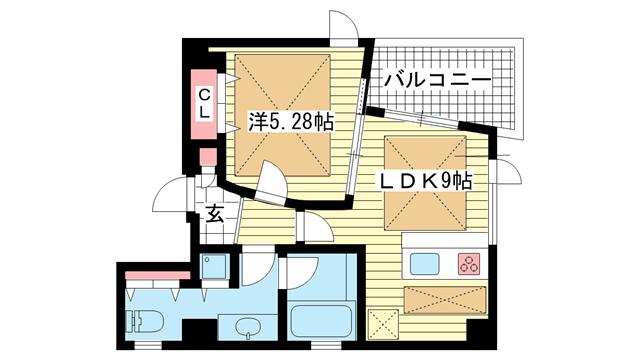 物件番号: 1025838640 POCO A POCO 三宮ハイタワー  神戸市中央区雲井通4丁目 1LDK マンション 間取り図