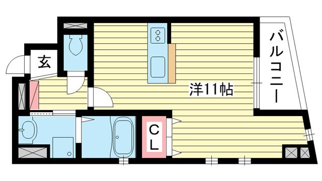 物件番号: 1025838735 フォレストコート西元町  神戸市中央区北長狭通7丁目 1R マンション 間取り図
