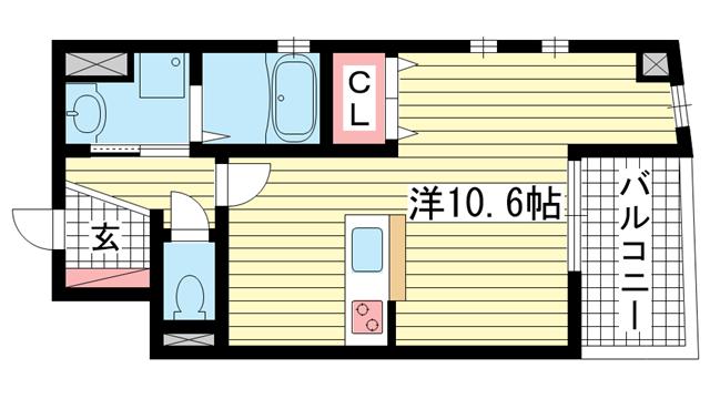 物件番号: 1025838744 フォレストコート西元町  神戸市中央区北長狭通7丁目 1R マンション 間取り図