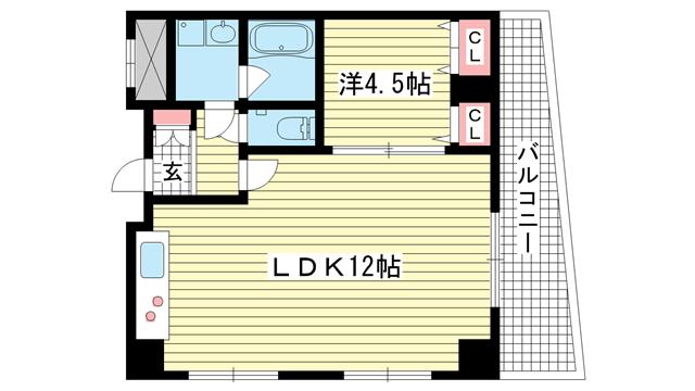 物件番号: 1025838812 アドモリモト元町通  神戸市中央区元町通5丁目 1LDK マンション 間取り図