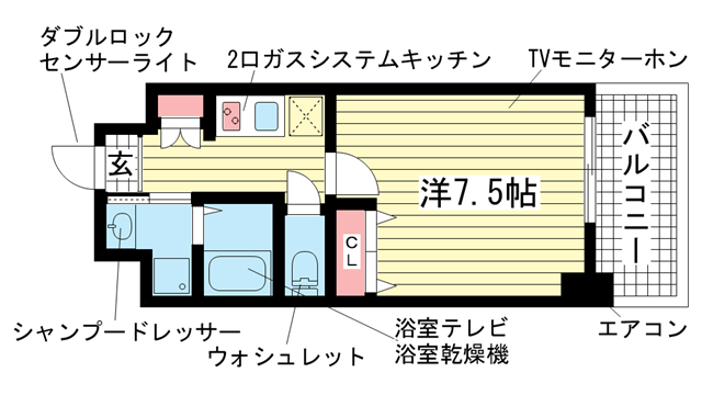 物件番号: 1025838929 アドバンス神戸グルーブ  神戸市中央区生田町3丁目 1K マンション 間取り図