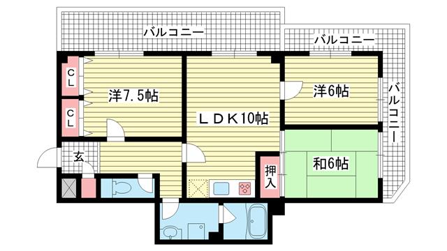 物件番号: 1025838966 ウエストコート1番館  神戸市兵庫区塚本通8丁目 3LDK マンション 間取り図