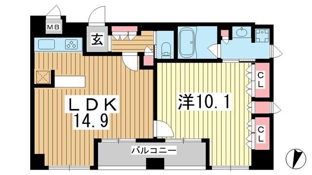 物件番号: 1025839050 リーガル神戸中山手通り  神戸市中央区中山手通2丁目 1LDK マンション 間取り図