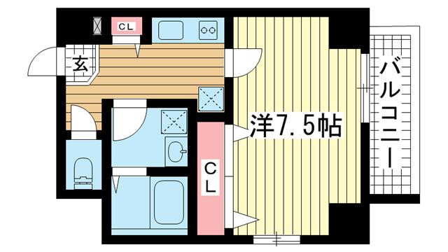 物件番号: 1025839142 WELLBEAR新神戸  神戸市中央区熊内町4丁目 1K マンション 間取り図
