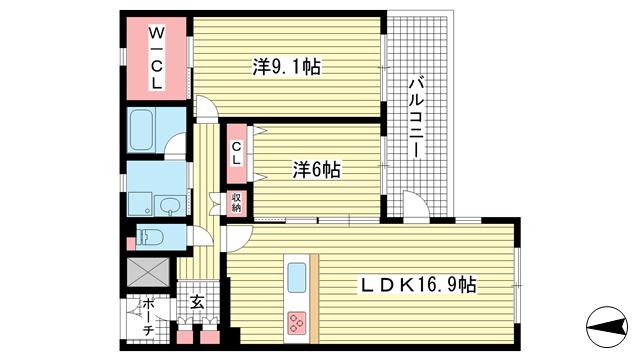 物件番号: 1025839146 フェンテ住吉本町  神戸市東灘区住吉本町3丁目 2LDK マンション 間取り図