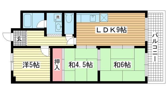 物件番号: 1025839205 Belltree須磨  神戸市須磨区妙法寺字トン松 3LDK マンション 間取り図