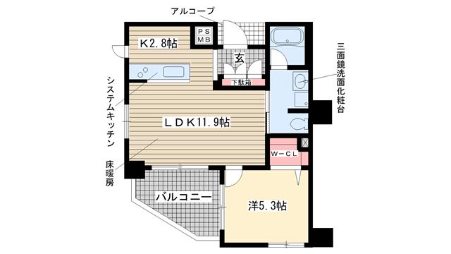 物件番号: 1025839273 ワコーレ神戸元町アクシア  神戸市中央区元町通5丁目 1LDK マンション 間取り図
