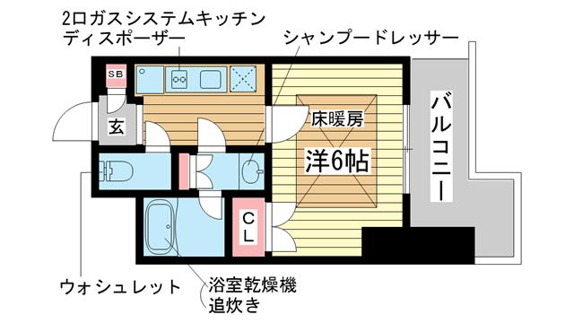 物件番号: 1025839274 トア山手フラッツ  神戸市中央区下山手通3丁目 1K マンション 間取り図