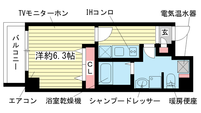 物件番号: 1025839350 マリス神戸  神戸市兵庫区中道通3丁目 1K マンション 間取り図
