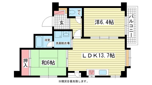 物件番号: 1025839452 セーシールコート  神戸市中央区中山手通4丁目 2LDK マンション 間取り図
