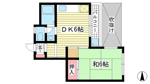 物件番号: 1025839526 サチハイツ  神戸市兵庫区小河通2丁目 1DK マンション 間取り図