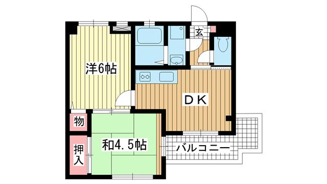 物件番号: 1025839560 アクエルド諏訪山  神戸市中央区中山手通4丁目 2DK マンション 間取り図