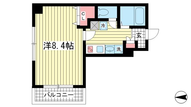 物件番号: 1025839643 サンコーガルフタワー  神戸市中央区海岸通3丁目 1K マンション 間取り図