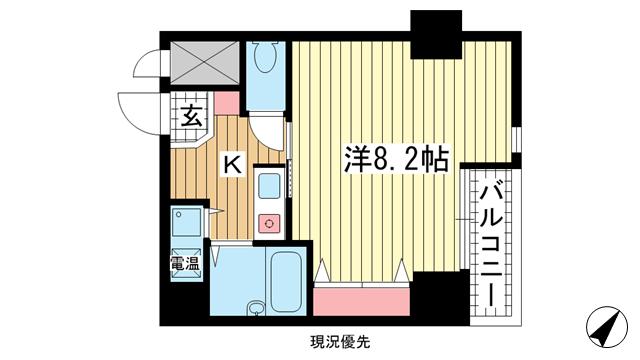 物件番号: 1025839897 プレサンス神戸メリケンパーク前  神戸市中央区海岸通4丁目 1K マンション 間取り図