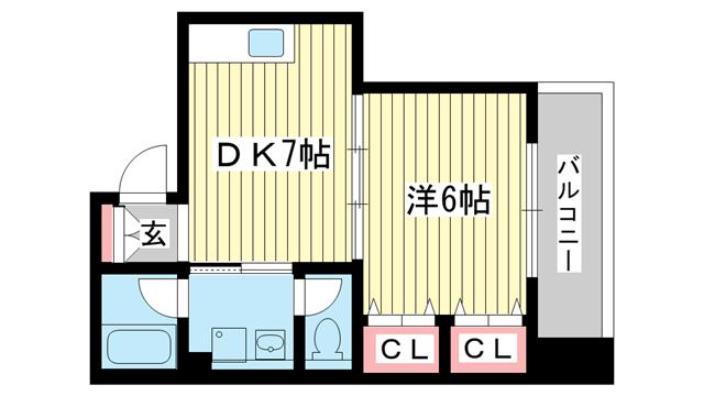 物件番号: 1025840052 キリンハイム  神戸市中央区布引町1丁目 1DK マンション 間取り図