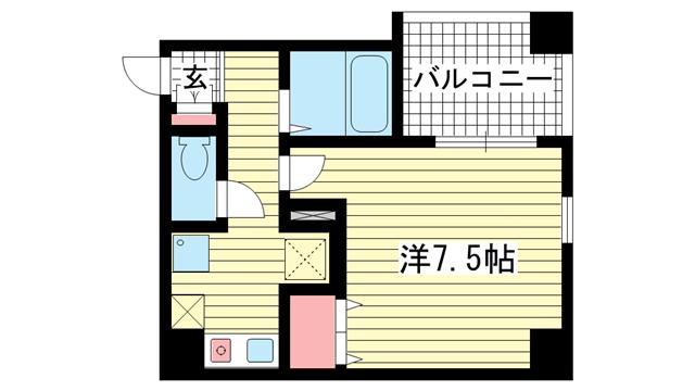 物件番号: 1025840074 ヴィラ神戸Ⅱ  神戸市兵庫区西上橘通1丁目 1K マンション 間取り図