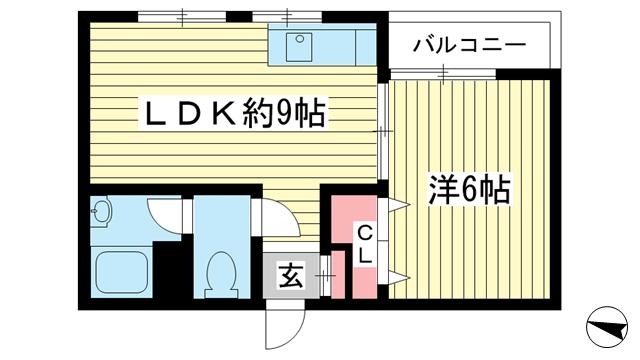 物件番号: 1025840122 マンションニューポート  神戸市中央区下山手通8丁目 1LDK マンション 間取り図