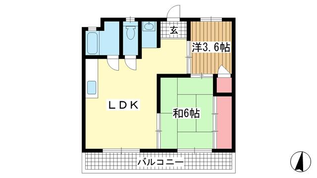 物件番号: 1025840207 山海マンション  神戸市中央区下山手通3丁目 2LDK マンション 間取り図