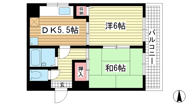 物件番号: 1025840386 シャルムMITI  神戸市中央区下山手通8丁目 2DK マンション 間取り図