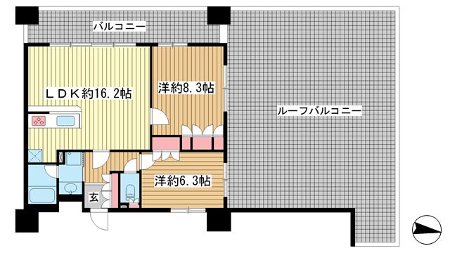 物件番号: 1025840435 リーガル新神戸パークサイド  神戸市中央区生田町2丁目 2LDK マンション 間取り図