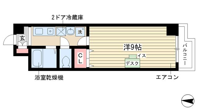 物件番号: 1025840468 フィールドクレイン  神戸市西区学園東町6丁目 1K マンション 間取り図