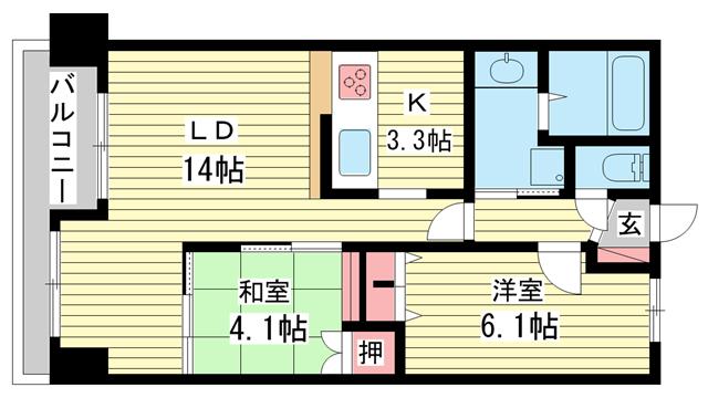 物件番号: 1025840628 レジディア三宮東  神戸市中央区磯上通3丁目 2LDK マンション 間取り図