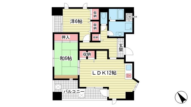物件番号: 1025840776 メインステージ兵庫  神戸市兵庫区新開地4丁目 2LDK マンション 間取り図