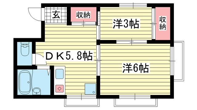 物件番号: 1025840808 シャトー下山手  神戸市中央区下山手通8丁目 2DK マンション 間取り図