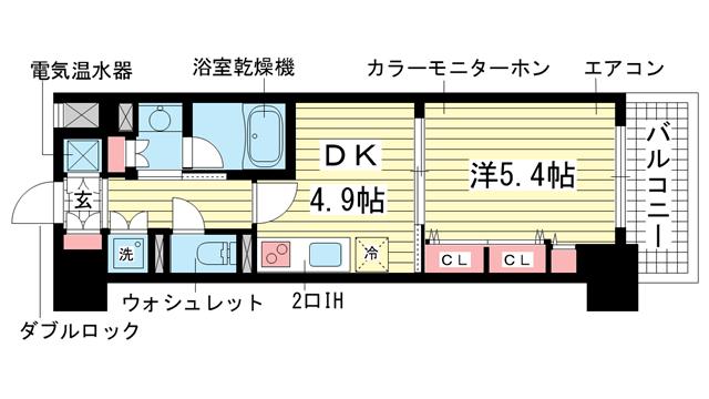 物件番号: 1025840998 レジディア神戸磯上  神戸市中央区磯上通3丁目 1DK マンション 間取り図