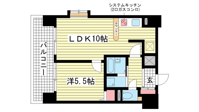 物件番号: 1025841088 リーガル新神戸  神戸市中央区二宮町4丁目 1LDK マンション 間取り図