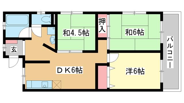 物件番号: 1025841155 山手ハイム  神戸市中央区中山手通7丁目 3DK マンション 間取り図