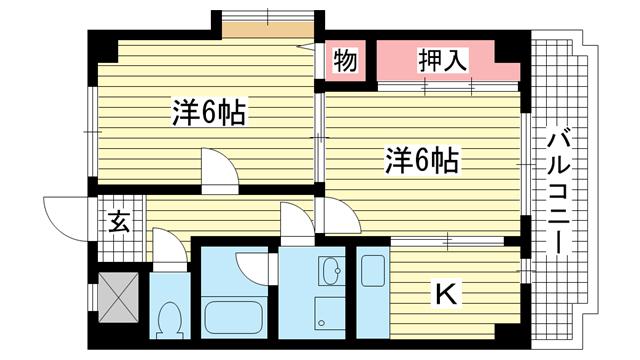 物件番号: 1025841214 ミロード・ドゥ・メゾン  神戸市灘区灘南通3丁目 2K マンション 間取り図