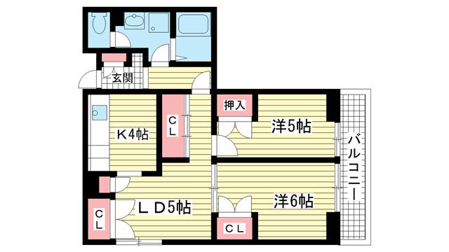 物件番号: 1025841271 昭和レジデンス  神戸市兵庫区矢部町 2LDK マンション 間取り図