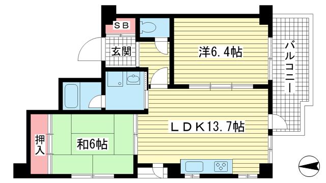 物件番号: 1025841289 セーシールコート  神戸市中央区中山手通4丁目 2LDK マンション 間取り図