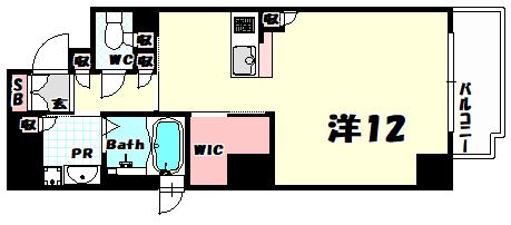 物件番号: 1025841333 パラッツォロッサ  神戸市中央区元町通3丁目 1R マンション 間取り図