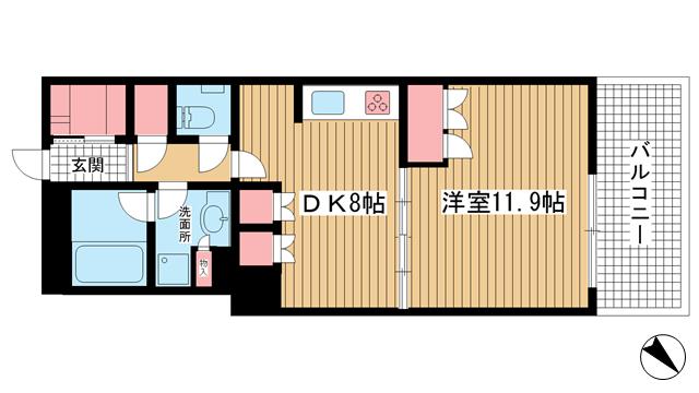 物件番号: 1025841500 アーバンライフ神戸三宮ザ・タワー  神戸市中央区加納町6丁目 1DK マンション 間取り図