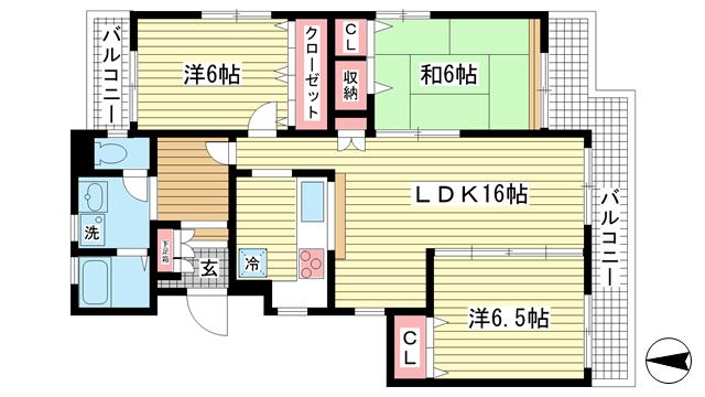 物件番号: 1025841590 ワコーレ赤坂山手  神戸市灘区赤坂通8丁目 3LDK マンション 間取り図