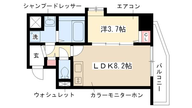 物件番号: 1025841599 マンション八雲  神戸市中央区八雲通2丁目 1LDK マンション 間取り図