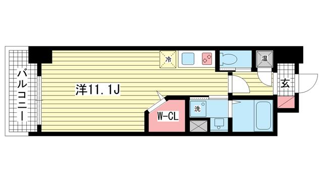 物件番号: 1025841605 ラ・ウェゾン湊川公園  神戸市兵庫区福原町 1K マンション 間取り図