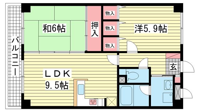 物件番号: 1025841641 ピソ・矢部  神戸市兵庫区矢部町 2LDK マンション 間取り図