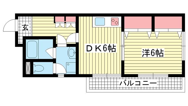 物件番号: 1025841648 パークコート六甲  神戸市灘区篠原中町6丁目 1DK マンション 間取り図